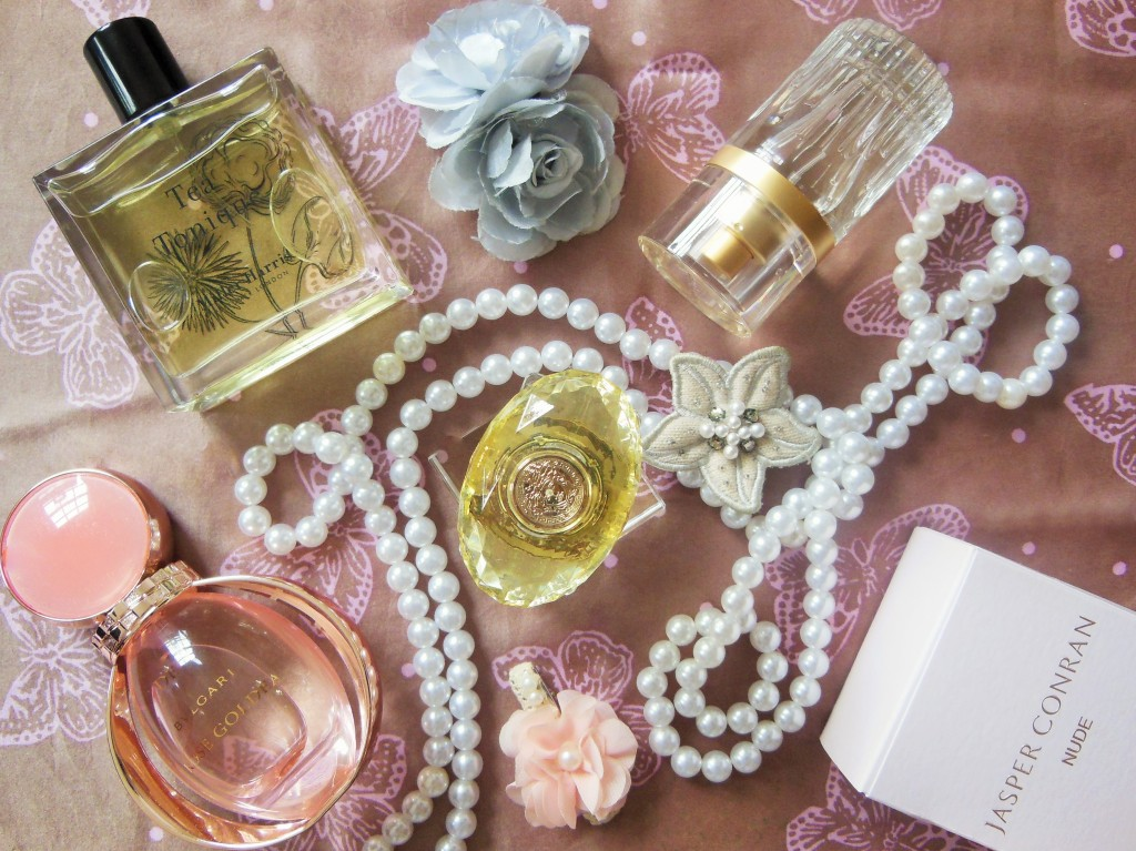 Fragrance review from rose to tea flatlay FreshBeautyFix