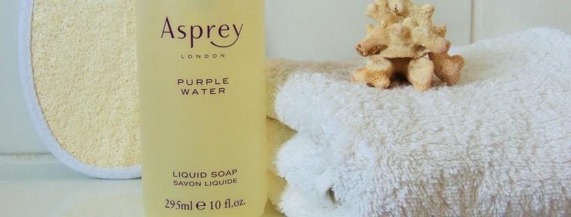 Asprey Purple Water Liquid Soap in bathroom FreshBeautyFix