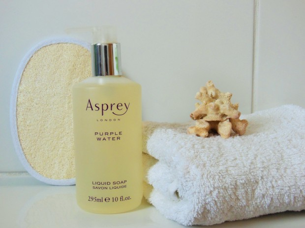 Asprey Purple Water Liquid Soap in bathroom FreshBeautyFix