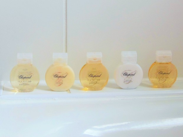 Bathroom with mini Chopard toiletries FreshBeautyFix