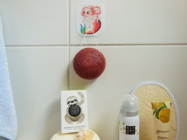 TheKonjacSpongeCo mermaid and rainforest face sponges in bathroom FreshBeautyFix