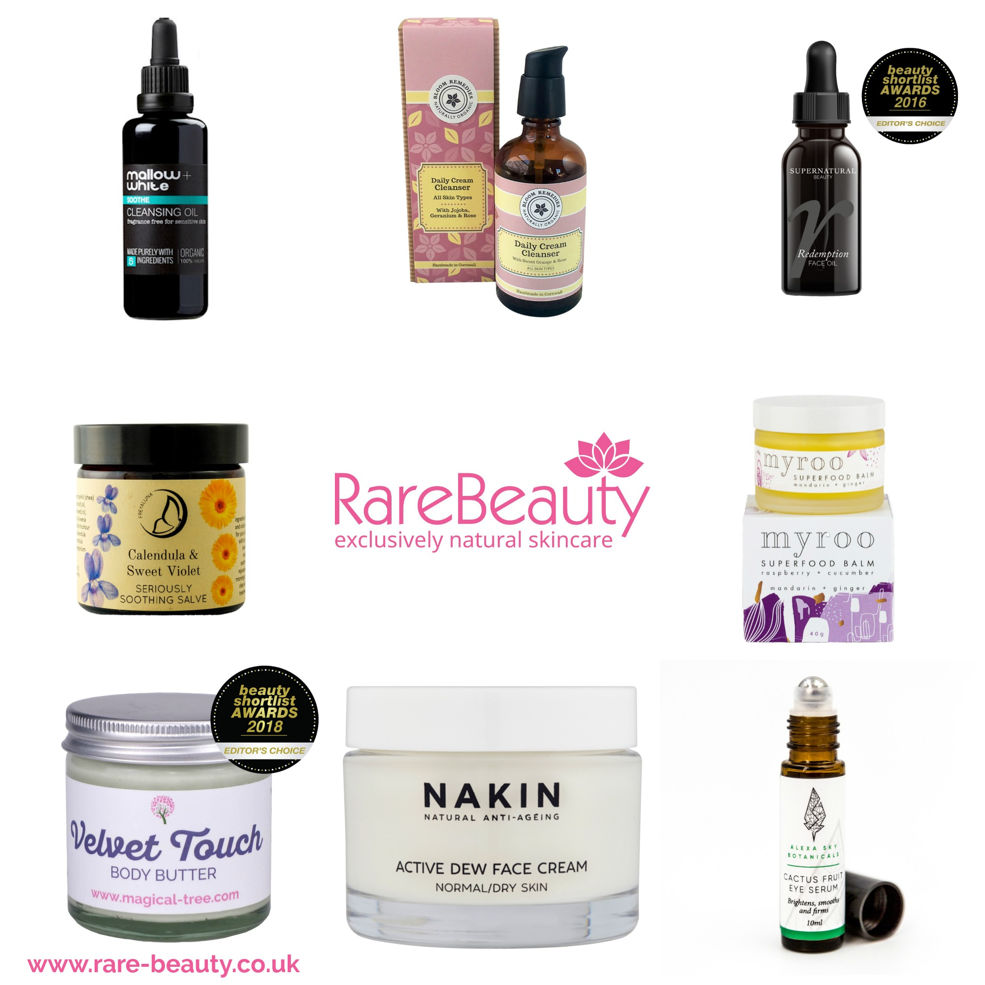 Natural and organic skincare products featured on Rare Beauty