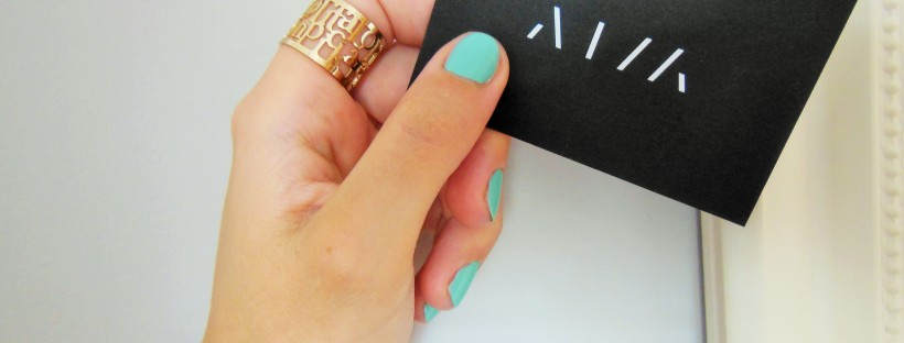 FreshBeautyFix Organic Glam Aqua Manicure with AIM Escape Room card