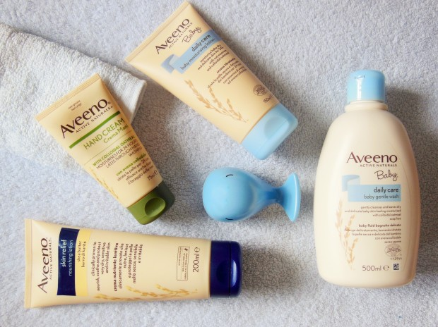 Aveeno Skincare featuring moisturising lotion, hand cream, and body wash