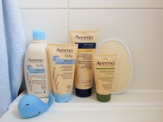 Aveeno Mother and Baby Skincare in bathroom