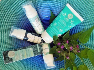 Natura Siberica featuring Gentle Face Peeling, Sophora Japonica Day Cream, Night Cream, Serum