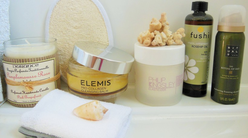 Spa beauty products in bathroom