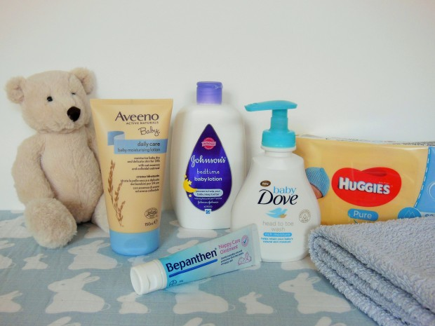 Baby Skincare Essentials including Aveeno Baby, Johnson's, Baby Dove, Bepanthen and Huggies