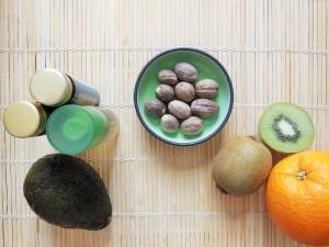 Key Beauty Ingredients including avocado, orange, kiwi