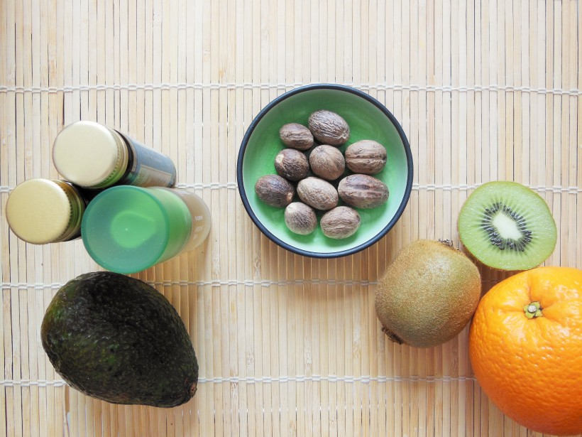 Key Beauty Ingredients including avocado, orange, kiwi