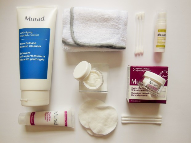 Murad skincare flatlay including cleanser, exfoliator, serum and moisturiser