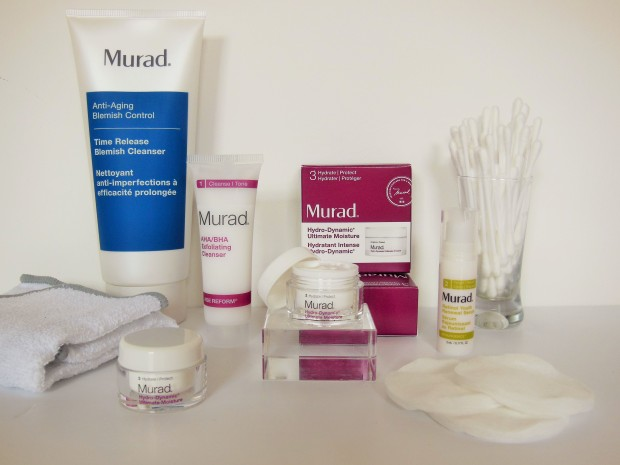 Murad skincare line up including cleanser, exfoliator, serum and moisturiser