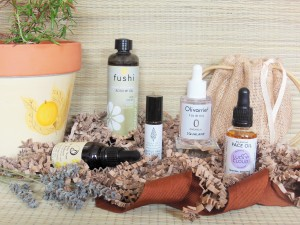Natural Facial Oils with plant pot, raffia bag and lavender with brown ribbon