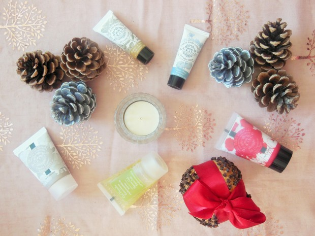 Durance mini products flatlay with winter decorations