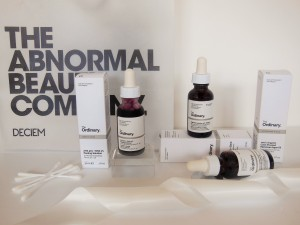 The Ordinary skincare products on white background