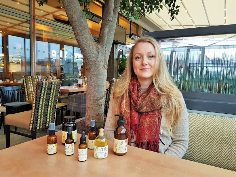 Sami Blackford founder of Freyaluna with products