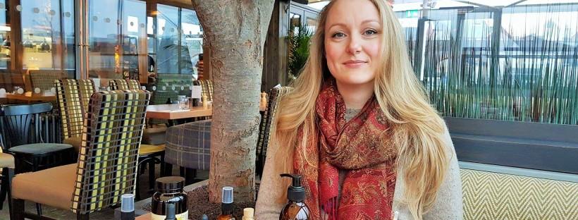 Sami Blackford founder of Freyaluna with products