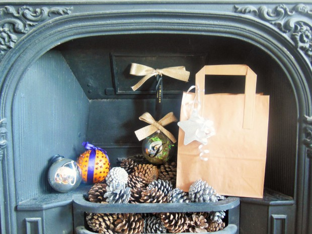 Handmade Christmas beauty gift in a fireplace