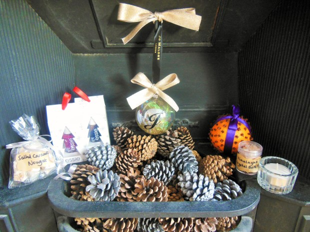 Homemade Christmas beauty gift items in fireplace