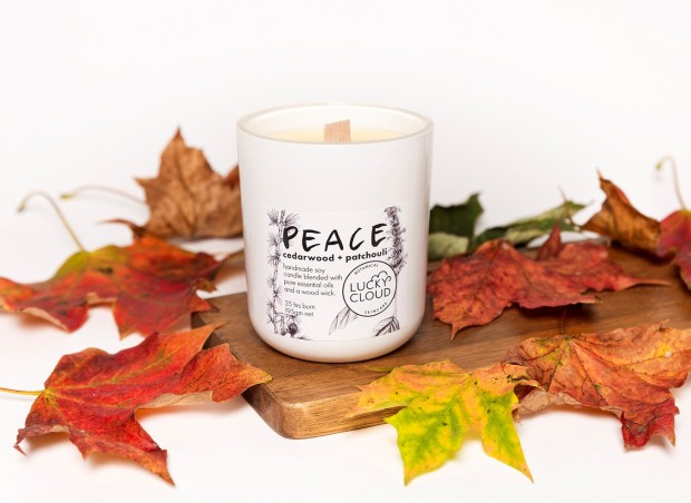 Lucky Cloud PEACE Soy Wax Candle with autumn leaves