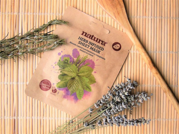 Sheet mask on bamboo mat with rosemary and lavender