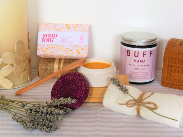 Sustainable beauty packaging featuring soap bar, cleansing melt and body scrub