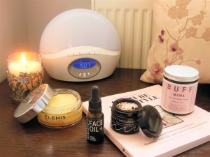 Beauty products on bedside table