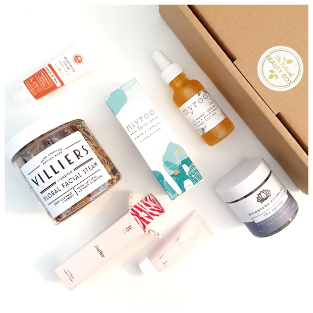 Natural skincare minis flatlay from The Natural Beauty Box