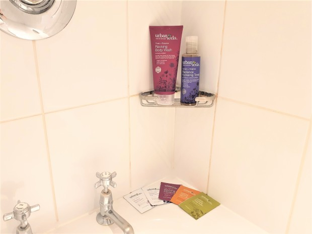 Skincare products and samples in a bath