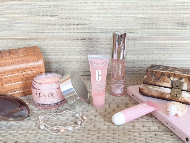 Clinique Moisture Surge range on rattan background