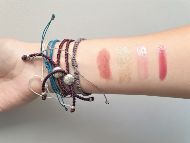 Swatches for MAC Sultry Move, Estee Lauder Starglazer, New CID Tickled Pink and Caudalie Addiction
