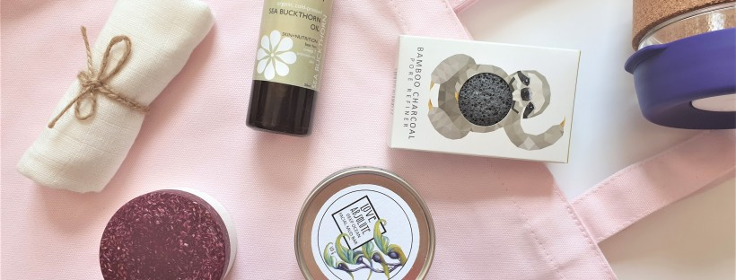 Plastic free skincare products on pink cotton bag