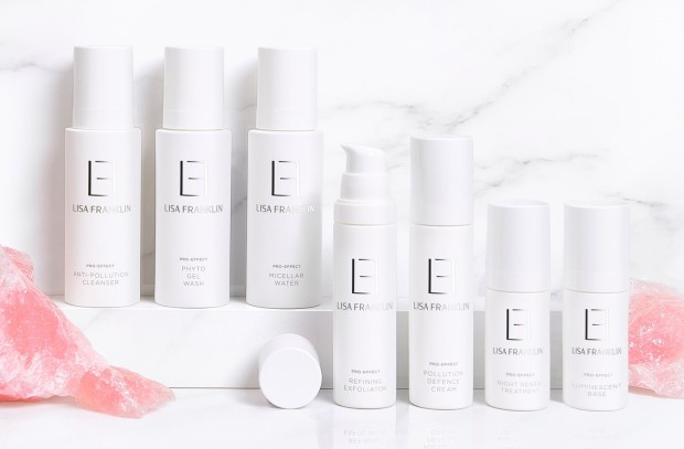 Lisa Franklin skincare range on marble