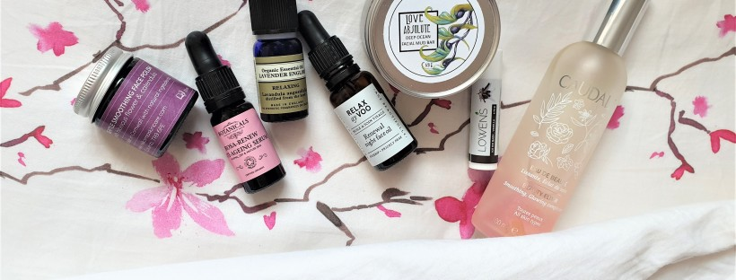 Night time beauty products on pillowcase