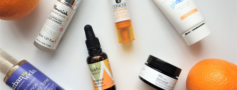Radiance boosting skincare products with oranges