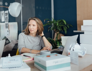 Sarah Brown Pai founder in her office