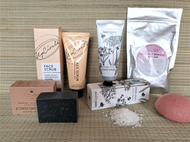 Leo's box featuring sustainable skincare