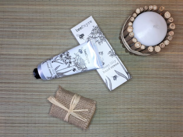 Beefayre hand cream in a tube on rattan mat