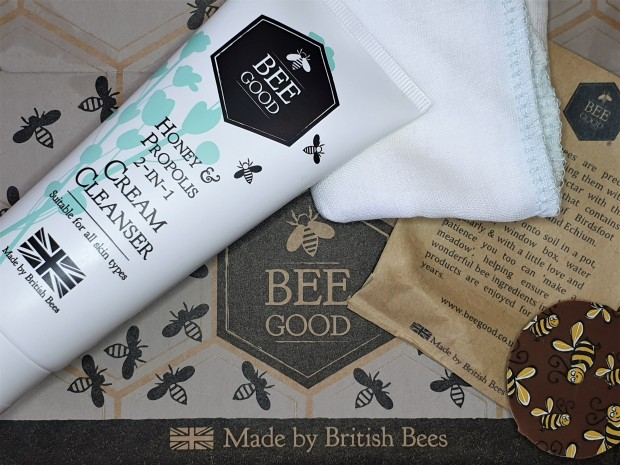 Bee Good Cream Cleanser tube on bee printed cardboard