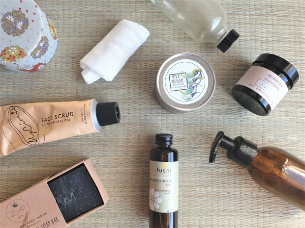 Reduce Reuse Recycle beauty products flatlay