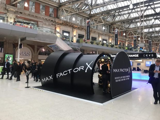 Max Factor installation in train station