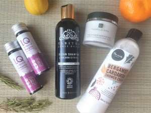 healthy beauty products on a rattan mat with fruit