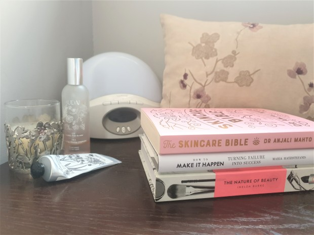 Beauty books on a bedside table