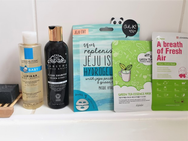 Sheet masks in bathroom