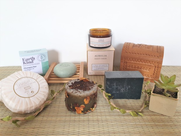 Sustainable beauty bar soaps groupshot