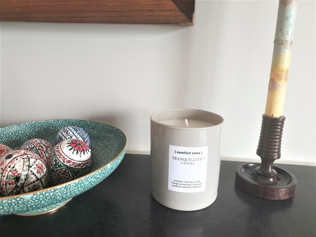 Comfort Zone Tranquillity candle on mantlepiece
