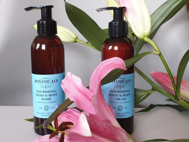 Certified organic hand wash and hand lotion with pink lilies