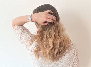 Blond wavy hair shot from the back