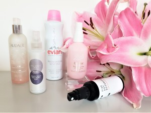 Five facial mists with pink lilies