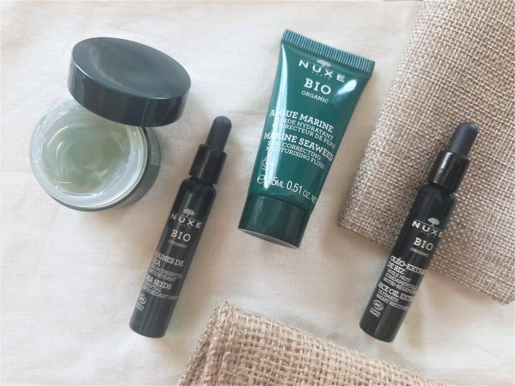 Nuxe Organic serum, moisturiser, mask and oil